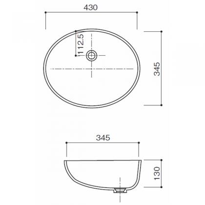 人工大理石洗面器 HS-105寸法図