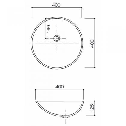 人工大理石洗面器 HS-106寸法図