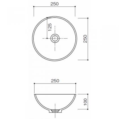 人工大理石洗面器 HS-107寸法図