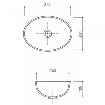 人工大理石洗面器 HS-210寸法図