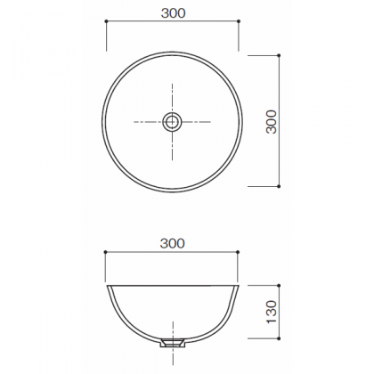 人工大理石洗面器 HS-300寸法図