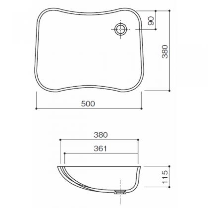 人工大理石洗面器 HS-410寸法図