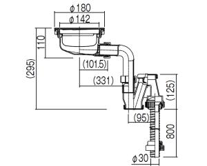 900J専用排水部品寸法図