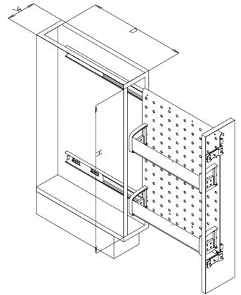 OTS-SBS-A40 アルミスライドストッカー 寸法図