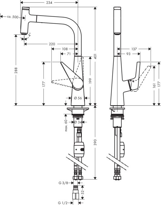 承認図 寸法図 HSG talis select 72821004 hansgrohe ハンスグローエ タリスセレクト S300