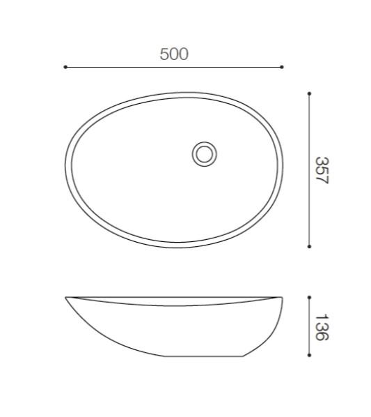 EG3550 寸法図 吉本産業 FABBRICA YSI 洗面ボウル 人工大理石