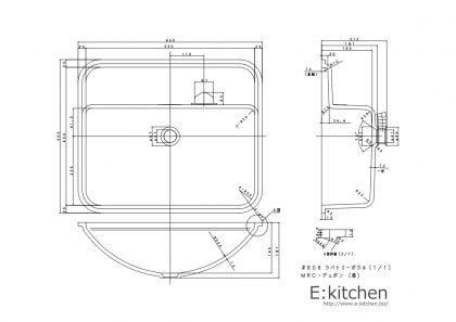 コーリアン洗面ボウル808寸法図