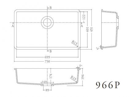 コーリアンシンク966P寸法図