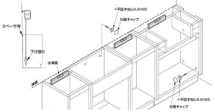 床・壁のレベル調整・壁面固定