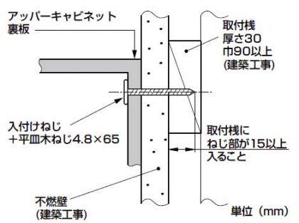キッチン設置工事:取付可能な壁構造