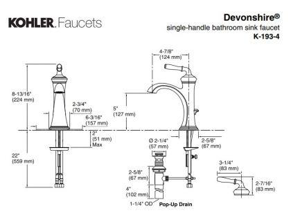 K-193-4 デボンシャー KOHLER 洗面水栓