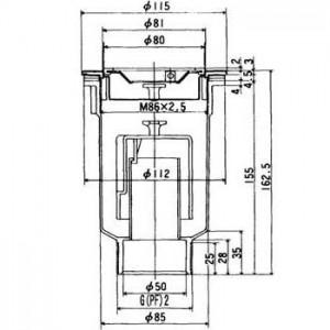 排水トラップTO-196L寸法図