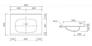 人工大理石洗面器一体カウンターBHS-101A-1EK寸法図