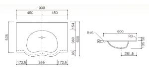 人工大理石洗面器一体カウンターBHS-103C-1_900寸法図