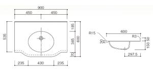 人工大理石洗面器付カウンターBHS-105B寸法図