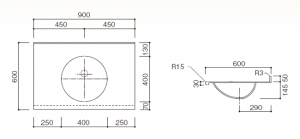 人工大理石洗面器一体カウンターBHS-106A-1寸法図