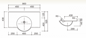 人工大理石洗面器一体カウンターBHS-106B-1寸法図