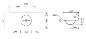 人工大理石洗面器一体カウンターBHS-300寸法図